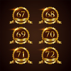 Luxury Badge Anniversary 67-72 Vector Illustrator Eps.10