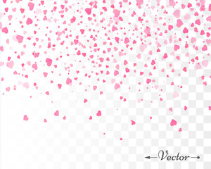 Hearts confetti isolated. Valentines vector template.