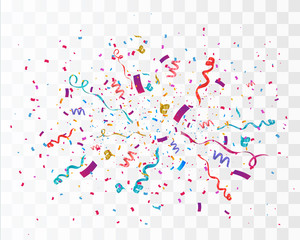 Confetti isolated on transparent background. Festive vector illustration