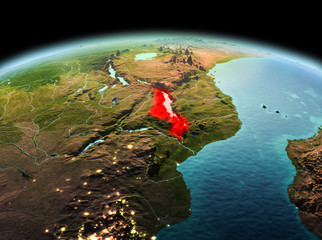 Malawi on planet Earth in space