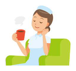 A woman nurse wearing a nurse cap and white coat is sitting on the sofa and drinking coffee