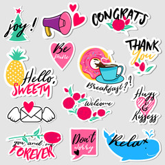 Collection of flat design social network stickers. Set of stickers, pins, patches and badges vector illustration. Stickers for mobile messages, chat, social media, online communication, networking