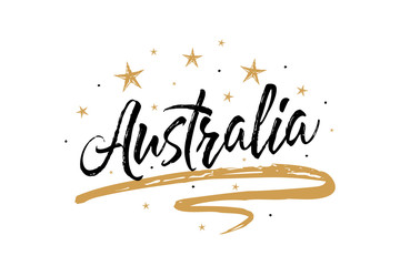 Australia. Name country word text card, banner script. Beautiful typography inscription greeting calligraphy poster black, gold ribbon, star. Handwritten design modern brush lettering isolated vector