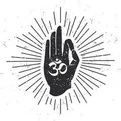 Vector illustration with hand in meditating pose with Om symbol scroll and sunburst on white background with grunge texture. Buddhism, hinduism and yoga concept for print, card, poster or flyer design