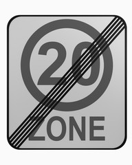 German traffic sign: tempo 20 zone finished isolated on white