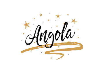 Angola. Name country word text card, banner script. Beautiful typography inscription greeting calligraphy poster black, gold ribbon, star. Handwritten design modern brush lettering isolated vector