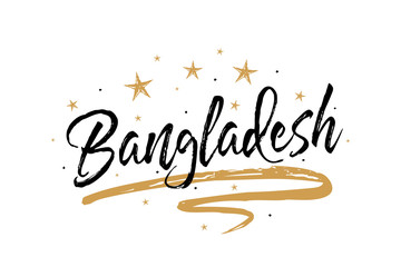 Bangladesh. Name country word text card, banner script. Beautiful typography inscription greeting calligraphy poster black, gold ribbon, star. Handwritten design modern brush lettering isolated vector