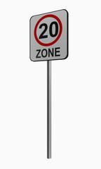 Deutsches Verkehrszeichen: tempo 20 Zone
