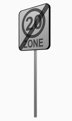 Deutsches Verkehrszeichen: tempo 20 Zone beendet