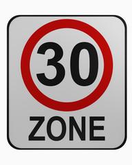 Deutsches Verkehrszeichen: tempo 30 Zone auf weiß isoliert