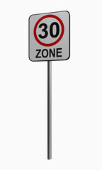 Deutsches Verkehrszeichen: tempo 30 Zone
