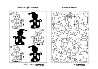 Two visual puzzles and coloring page for kids. Find the right shadow for each picture of ginger man. Count the socks. Black and white. Answers included.