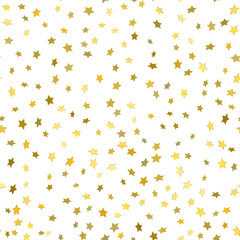Abstract white modern seamless pattern with gold stars.