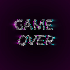 Vector game over phrase in pixel art style with glitch VHS effect.