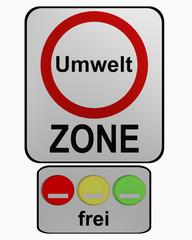 Deutsches Verkehrszeichen: Umweltzone mit Zusatzzeichen für Freistellung