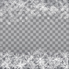 Falling snow on a transparent background. Vector illustration 10 EPS.