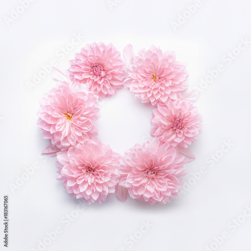 Round frame of pastel pink flowers on white desk background floral round frame of pastel pink flowers on white desk background floral wreath layout for mightylinksfo