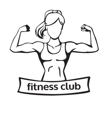 Vector illustration with strong woman doing bicep curl. Fitness club logo template with a place for your name or inscription. Line art isolated on white background.