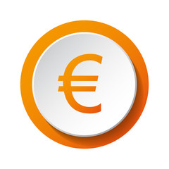 Euro symbol - 3d icon isolated on white background. Vector.