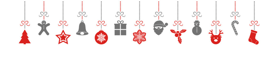Concept of panoramic header with colourful  Christmas decorations. Vector.