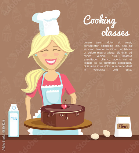 Vector illustration with smiling woman baking chocolate