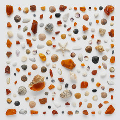 A creative pattern of shells, cones, unprocessed pieces of amber, natural stones, starfish. Composition of natural materials, flat lay, top view. Summer, sea concept. Marine background, stone texture.