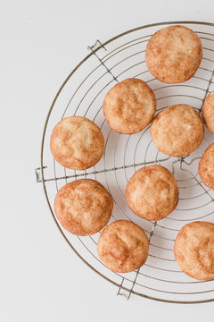 Freshly baked, traditional American Snickerdoodles, cinnamon sugar cookies dusted with cinnamon and sugar on metal cooling rack on white wooden table