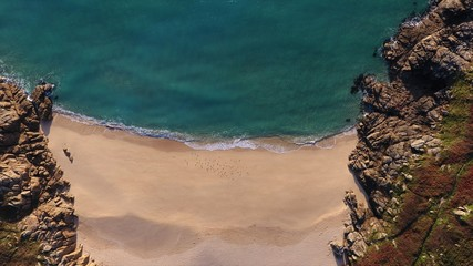 Porthcurno Beach and Coastline from Above