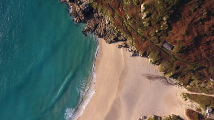 Porthcurno Beach, Cornwall from Above