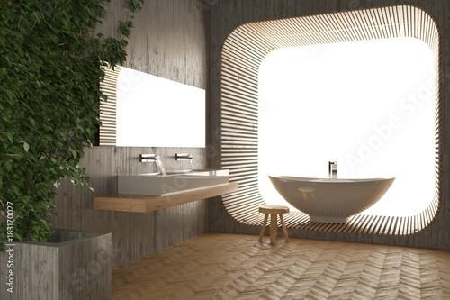 Vasca Da Bagno Con Lavabo : Minimalista e luminoso bagno con doppio lavabo doccia e vasca da