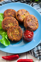 Aloo Tikki or cutlet. Indian snack made of boiled potatoes