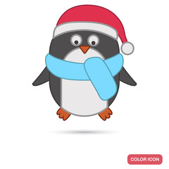 Christmas penguin color flat icon for web and mobile design