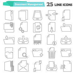 Document management line icons set for web and mobile design