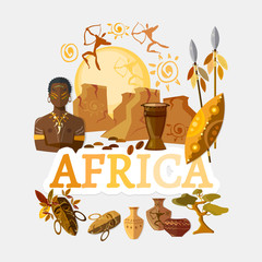 Travel to Africa. Traditions and culture,  Welcome to Africa. Collection of symbolic elements. Template travel background