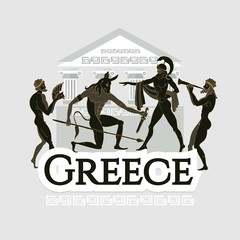 Travel to Ancient Greece. Traditions and culture,  Welcome to Greece. Collection of symbolic elements. Template travel background
