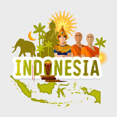 Travel to Indonesia. Traditions and culture,  Welcome to Indonesia. Collection of symbolic elements. Template indonesian travel background