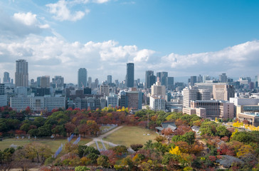 Cityscape of Osaka, one of a beautiful prefecture in Japan.