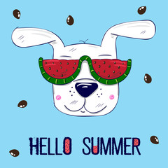 "cute dog wearing red sunglasses in green frame, a watermelon with seeds in the form of hearts, the text ""Hello summer"", blue background. for t-shirt, phone case, mugs,wall art"