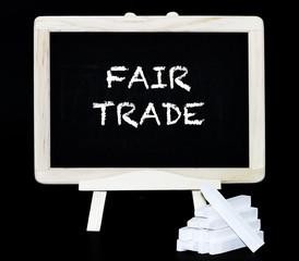 Fair Trade text on blackboard