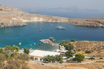Western bay in Lindos on the island of Rhodes, Greece