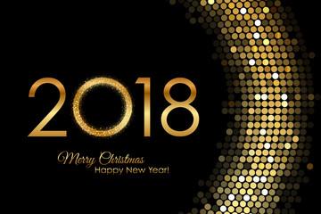 Vector - 2018 Happy New Year golden glowing