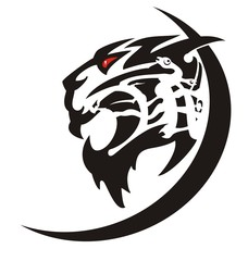 Aggressive tiger icon. Tattoo of the growling tiger head, black on white