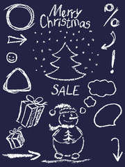 Crayon christmas new year sale symbols like child's drawing funny doodle design element. Cartoon sketch style vector set. Pencil or chalk Like kids hand drawn snowman, tree, gift box, frame, bubble