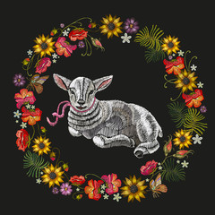 Embroidery lamb and wreath of flowers. Embroidery portrait of a beautiful young lamb and red roses, peonies, sunflowers, template for clothes, textiles, t-shirt design