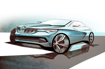 Design sporty exterior car is drawing brush color painting. Vehicle is dynamics and sports. Sketch is sketched with lights lines and luxurious curves.