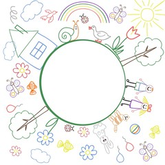 The frame of the children's colourful drawings with place for your text inside the circle. Vector illustration.