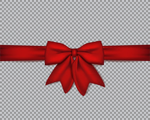 Decorative realistic red bow with horizontal ribbon on isolated background . Vector rose bow.