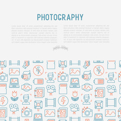 Photography concept with thin line icons of photographer, film, crop, flash, focus, light, panorama. Vector illustration for banner, web page, print media.