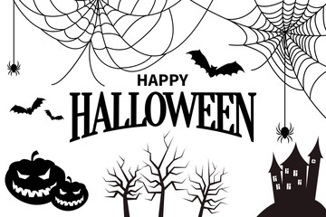 Happy Halloween Colorless Vector Illustration