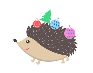 Little Happy Hedgehog Icon Vector Illustration